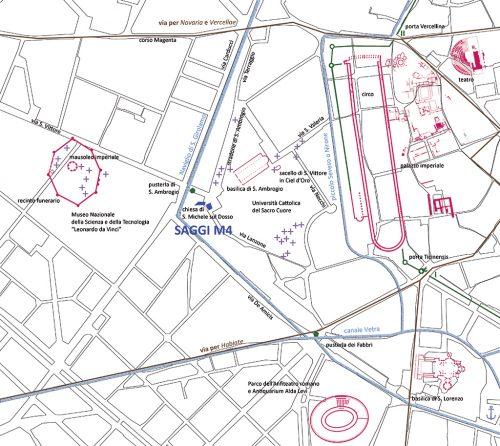 Mappa dell'area di Sant'Ambrogio con la localizzazione dei monumenti antichi e dei principali nuclei funerari.