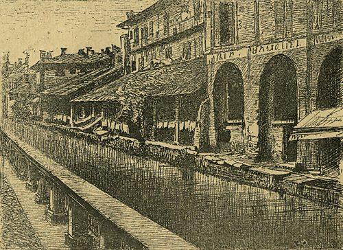 Stampa del 1886 di Dovera raffigurante il Naviglio di Santa Sofia con i caratteristici portici delle sciostre (Civica Raccolta delle Stampe Achille Bertarelli, Castello Sforzesco, Milano).