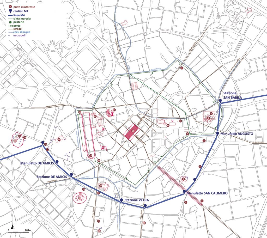 Viaggio nel tempo - la mappa di Milano con i principali monumenti di Mediolanum e i punti d'interesse lungo i cantieri della linea M4