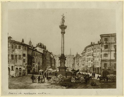 Il Verziere e la colonna con la statua del Redentore in una stampa di fine Ottocento (Civico Archivio Fotografico, Milano).