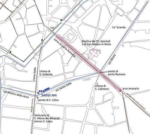 Pianta dell'area con la localizzazione dei monumenti di età romana e medievale. In evidenza i cinque saggi di scavo realizzati nel 2008 e nel 2016 in via Santa Sofia all'incrocio con corso Italia, durante i lavori per la linea M4.