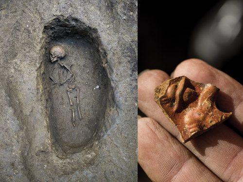 """La mascotte della necropoli si chiama Europa. Nel 2016 gli archeologi hanno affettuosamente chiamato così questo piccolo defunto, immaginando che fosse una bambina. In realtà la giovane età del defunto non permette di determinarne con certezza il sesso. """"Europa"""" è stata sepolta insieme a un ago in osso e a una lampada in ceramica, su cui è raffigurato un gladiatore. Un oggetto simbolico per far luce fra le tenebre dell'aldilà, ma anche per ricordare i giocattoli che erano il corrispettivo dei nostri """"soldatini""""."""