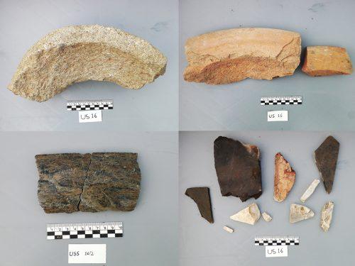 Alcuni reperti dallo scavo archeologico nella stazione M4 - Vetra: macine in pietra, mortai in ceramica, recipienti in pietra ollare e frammenti di marmo.