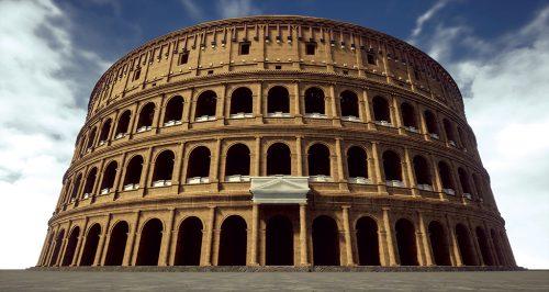 Ipotesi di ricostruzione 3D dell'anfiteatro di Milano, edificato nel I secolo d.C. I suoi resti sono visibili nel Parco dell'anfiteatro romano e Antiquarium Alda Levi.