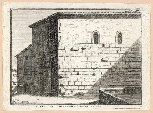 """La Torre dell'imperatore apparteneva al sistema difensivo che in età medievale cingeva il quartiere di Porta Ticinese, noto come """"Cittadella"""" (Civica Raccolta delle Stampe Achille Bertarelli, Castello Sforzesco, Milano)."""